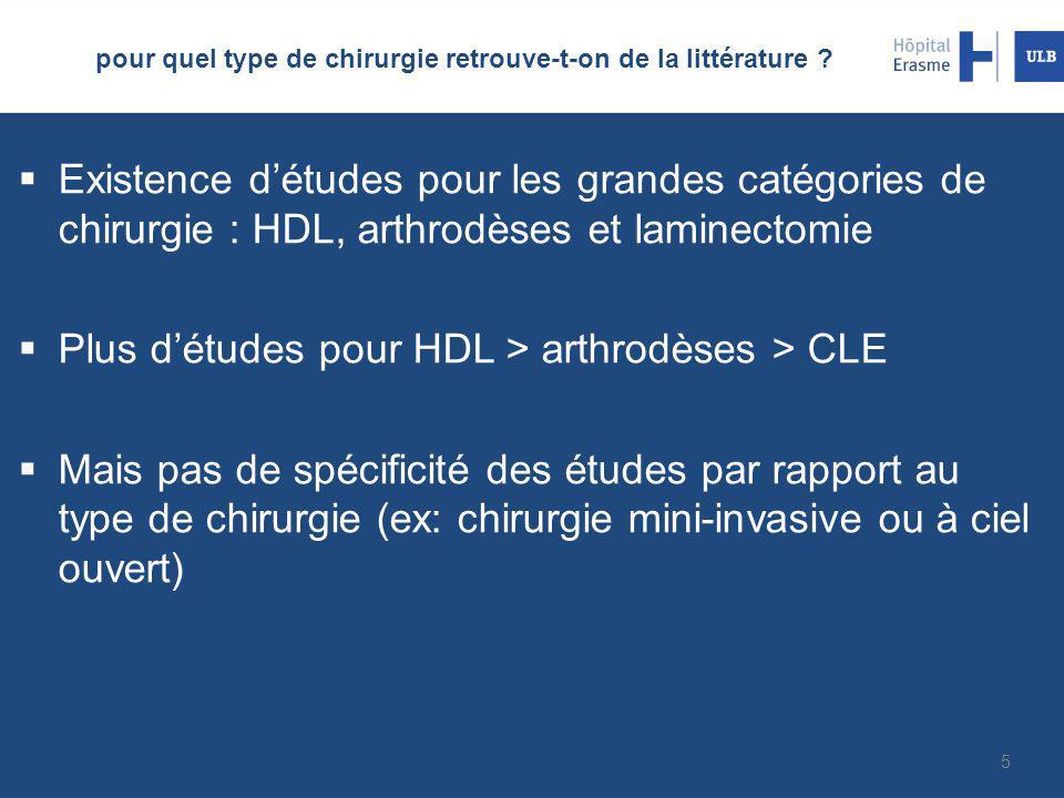 pour quel type de chirurgie retrouve-t-on de la littérature ?  Existence d'études pour les grandes catégories de chirurgie : HDL, arthrodèses et lami