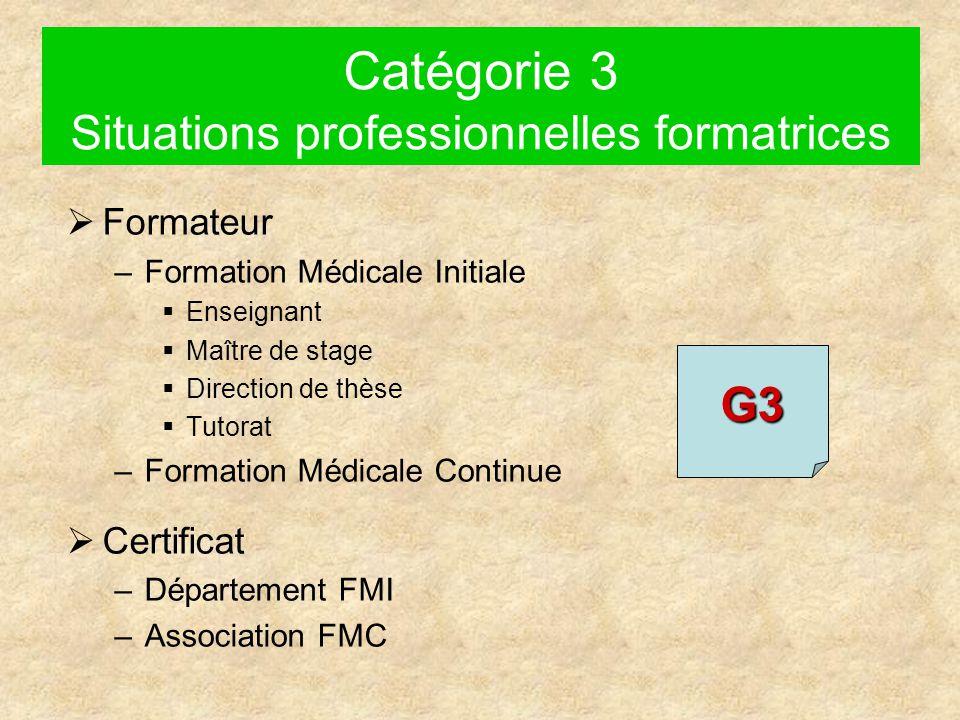 Catégorie 3 Situations professionnelles formatrices  Formateur –Formation Médicale Initiale  Enseignant  Maître de stage  Direction de thèse  Tutorat –Formation Médicale Continue  Certificat –Département FMI –Association FMC G3