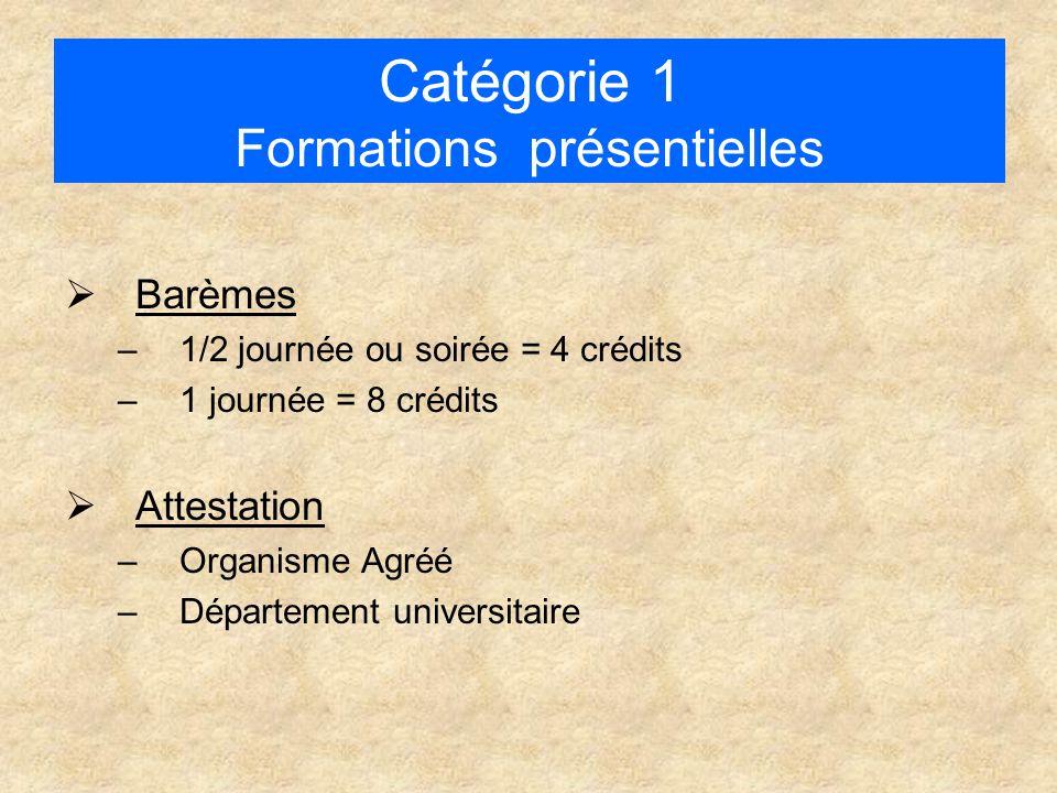 Catégorie 1 Formations présentielles  Barèmes –1/2 journée ou soirée = 4 crédits –1 journée = 8 crédits  Attestation –Organisme Agréé –Département universitaire
