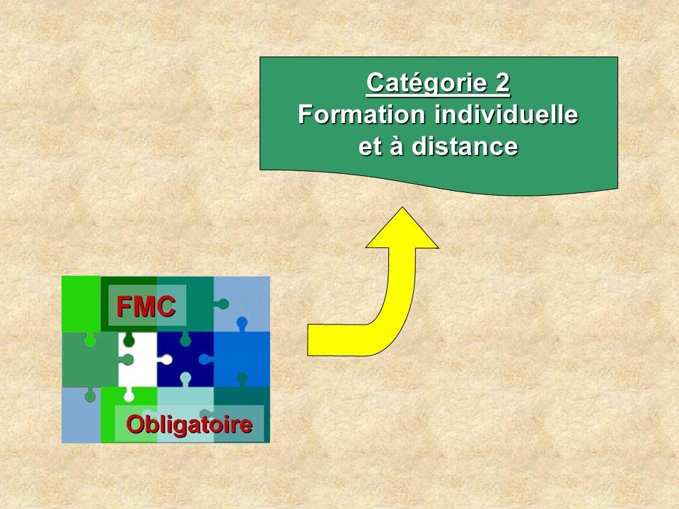 Catégorie 2 Formations individuelles et à distance  Modalités –Lectures Revues, livres CD ROM et DVD Test de lecture recommandé –Internet E - Formation sur site agréé Enseignement virtuel