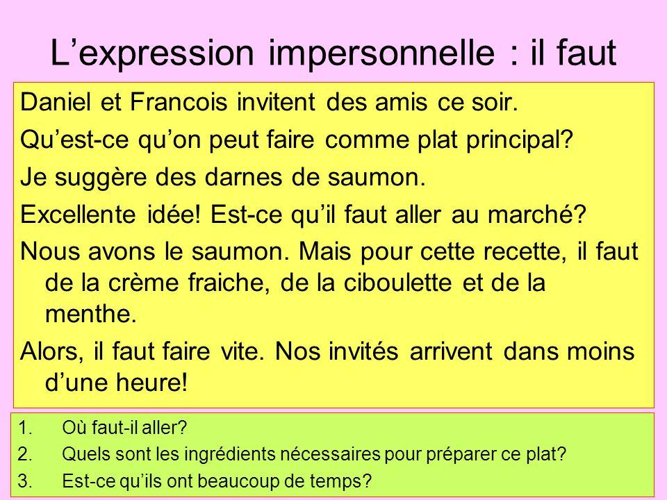 L'expression impersonnelle : il faut Daniel et Francois invitent des amis ce soir. Qu'est-ce qu'on peut faire comme plat principal? Je suggère des dar