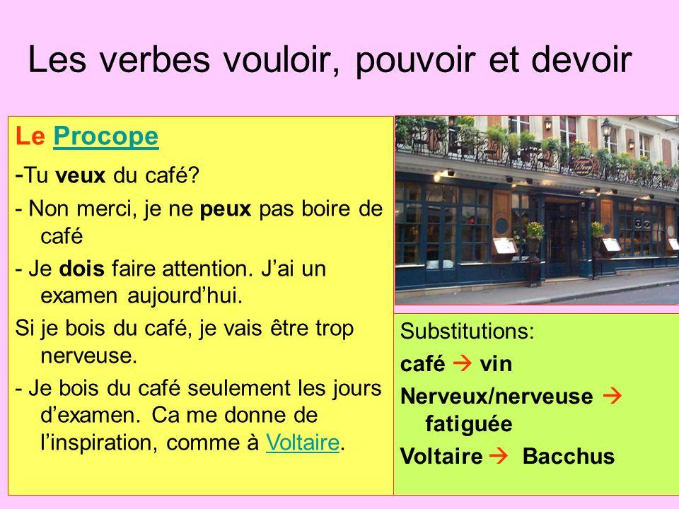 Les verbes vouloir, pouvoir et devoir Le ProcopeProcope - Tu veux du café? - Non merci, je ne peux pas boire de café - Je dois faire attention. J'ai u