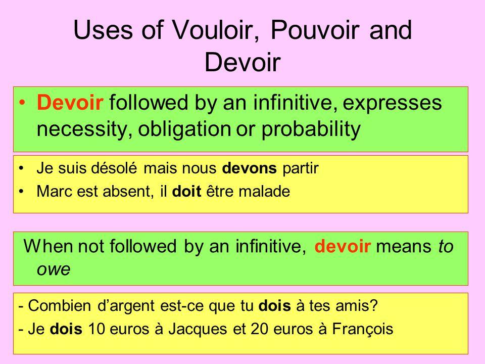 Uses of Vouloir, Pouvoir and Devoir Pouvoir is usually followed by an infinitive Vous pouvez partir à 3 heures.