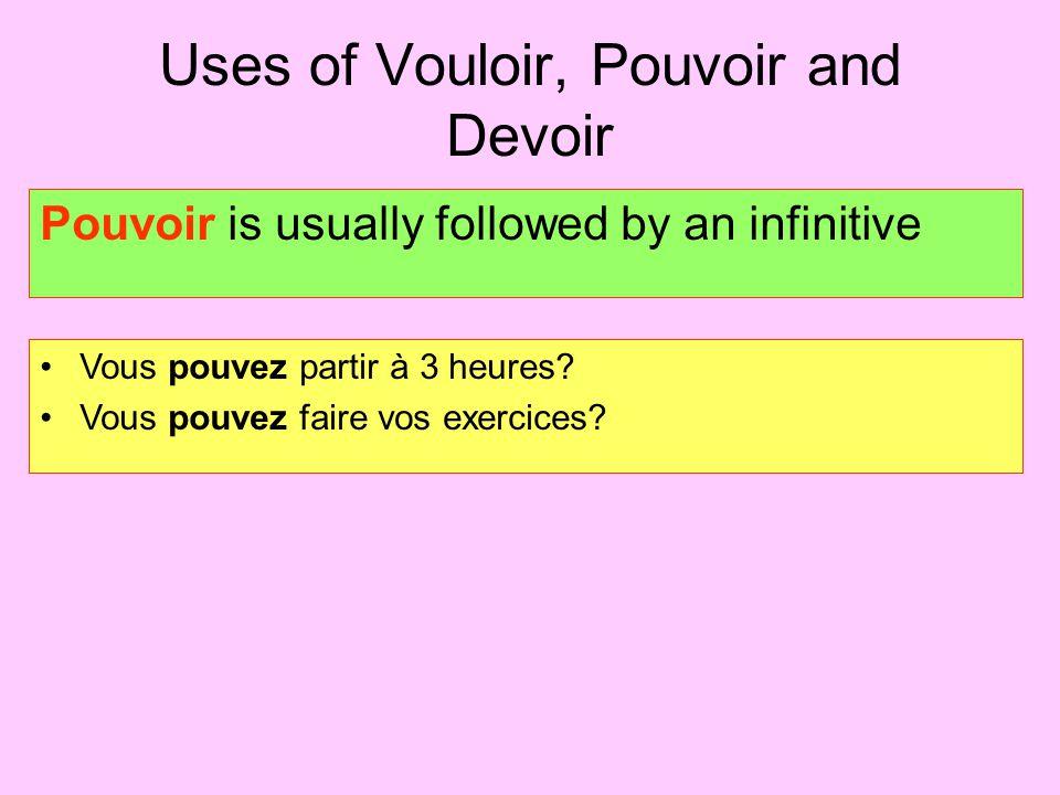 Uses of Vouloir, Pouvoir and Devoir Pouvoir is usually followed by an infinitive Vous pouvez partir à 3 heures? Vous pouvez faire vos exercices?