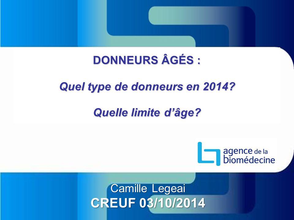 DONNEURS ÂGÉS : Quel type de donneurs en 2014? Quelle limite d'âge? Camille Legeai CREUF 03/10/2014