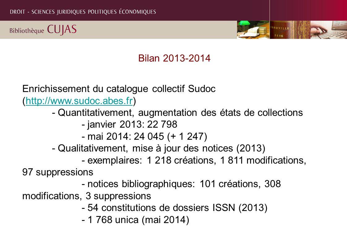 Bilan 2013-2014 Enrichissement du catalogue collectif Sudoc (http://www.sudoc.abes.fr)http://www.sudoc.abes.fr - Quantitativement, augmentation des états de collections - janvier 2013: 22 798 - mai 2014: 24 045 (+ 1 247) - Qualitativement, mise à jour des notices (2013) - exemplaires: 1 218 créations, 1 811 modifications, 97 suppressions - notices bibliographiques: 101 créations, 308 modifications, 3 suppressions - 54 constitutions de dossiers ISSN (2013) - 1 768 unica (mai 2014)