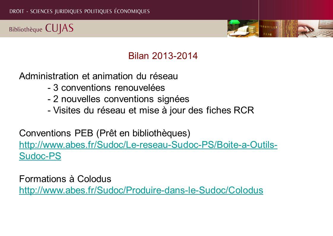 Bilan 2013-2014 Administration et animation du réseau - 3 conventions renouvelées - 2 nouvelles conventions signées - Visites du réseau et mise à jour des fiches RCR Conventions PEB (Prêt en bibliothèques) http://www.abes.fr/Sudoc/Le-reseau-Sudoc-PS/Boite-a-Outils- Sudoc-PS Formations à Colodus http://www.abes.fr/Sudoc/Produire-dans-le-Sudoc/Colodus