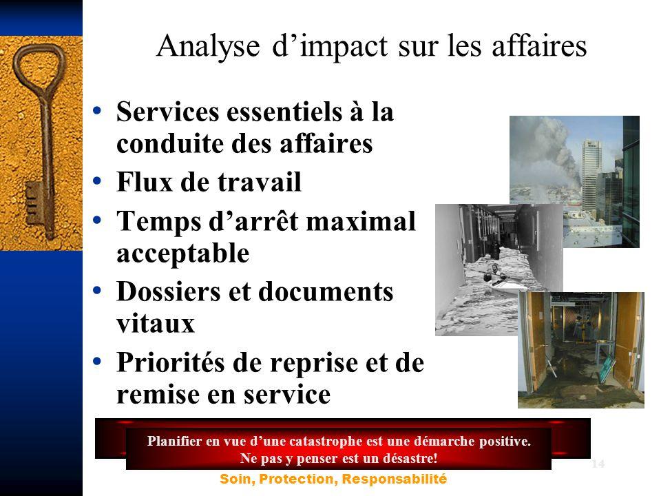 14 Analyse d'impact sur les affaires Services essentiels à la conduite des affaires Flux de travail Temps d'arrêt maximal acceptable Dossiers et docum