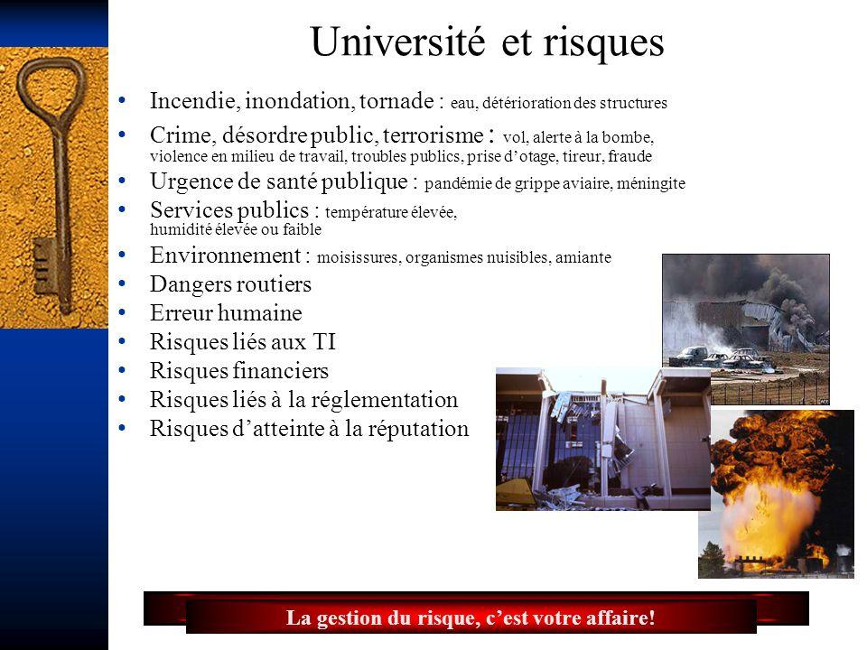 16 Université et risques Incendie, inondation, tornade : eau, détérioration des structures Crime, désordre public, terrorisme : vol, alerte à la bombe