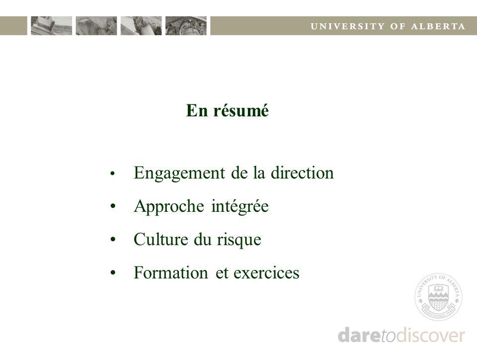 En résumé Engagement de la direction Approche intégrée Culture du risque Formation et exercices