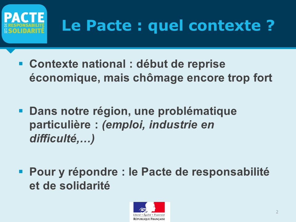 Le Pacte : quel contexte .