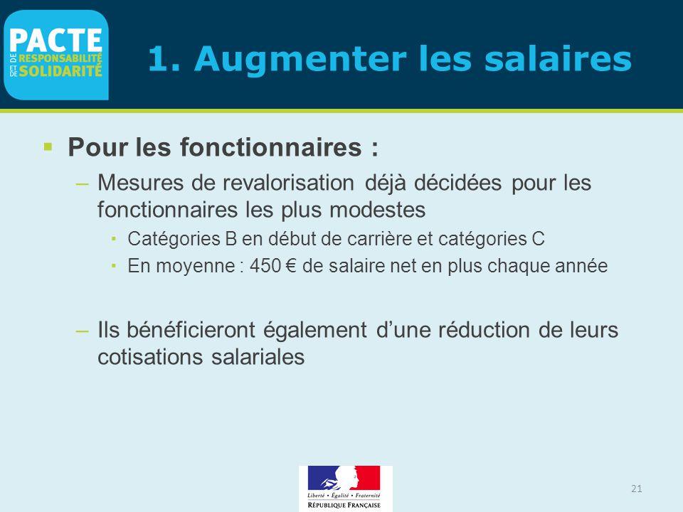 1. Augmenter les salaires  Pour les fonctionnaires : –Mesures de revalorisation déjà décidées pour les fonctionnaires les plus modestes  Catégories