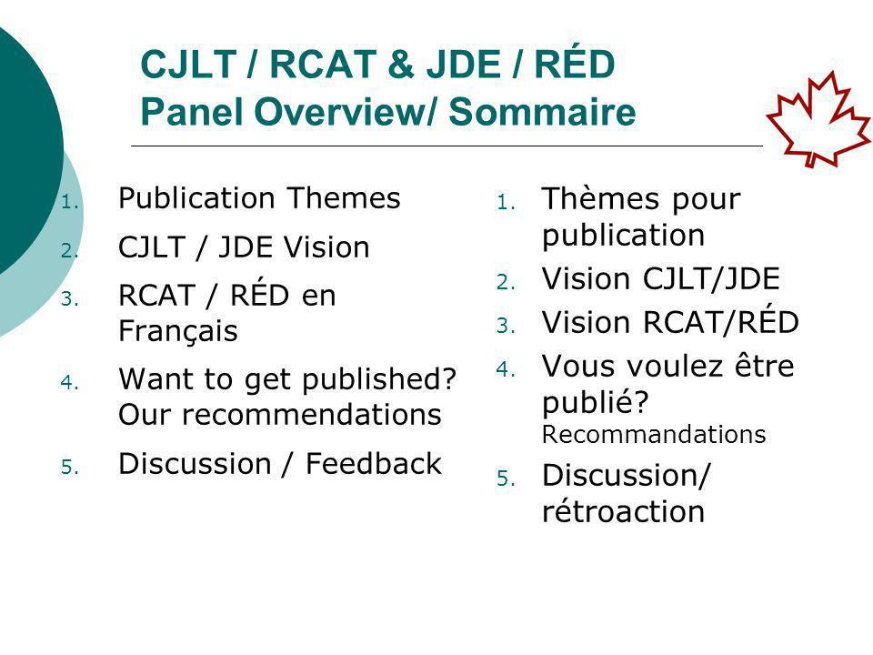 Research Methods – Generic/ Méthodes de recherche - Génériques Method/Méthodologie CJLT / RCAT JDE / RED Mixed Mode - Quant & Qual/ Mode mixte – quantitatif et qualitatif 6%12%