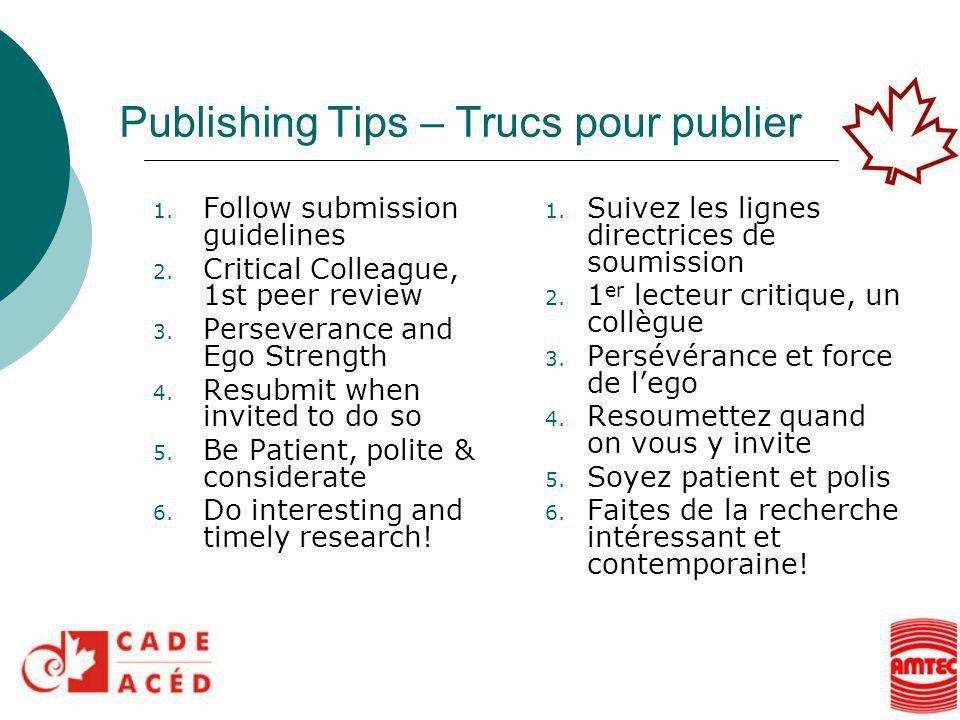 Publishing Tips – Trucs pour publier 1.Suivez les lignes directrices de soumission 2.