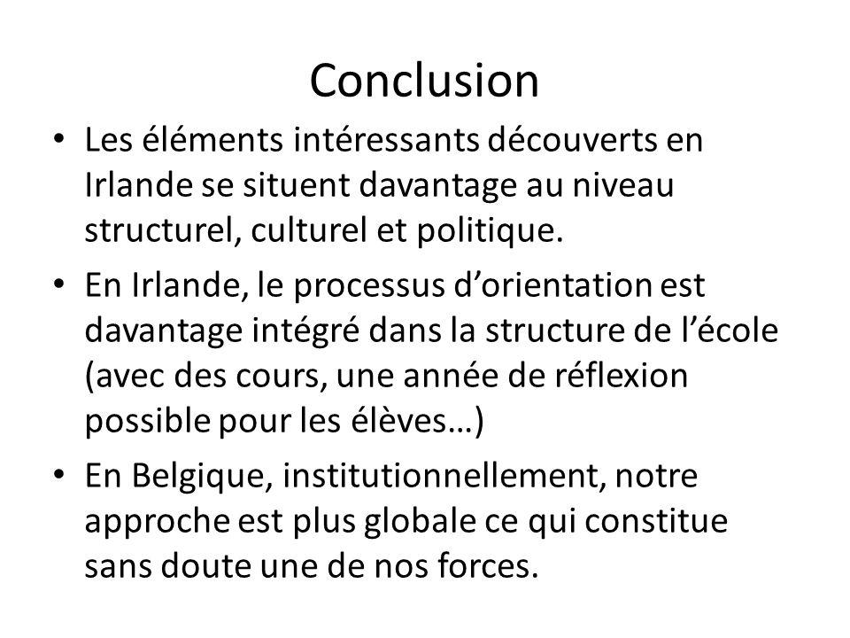 Conclusion Les éléments intéressants découverts en Irlande se situent davantage au niveau structurel, culturel et politique. En Irlande, le processus