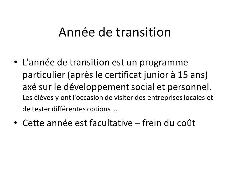 Année de transition L'année de transition est un programme particulier (après le certificat junior à 15 ans) axé sur le développement social et person