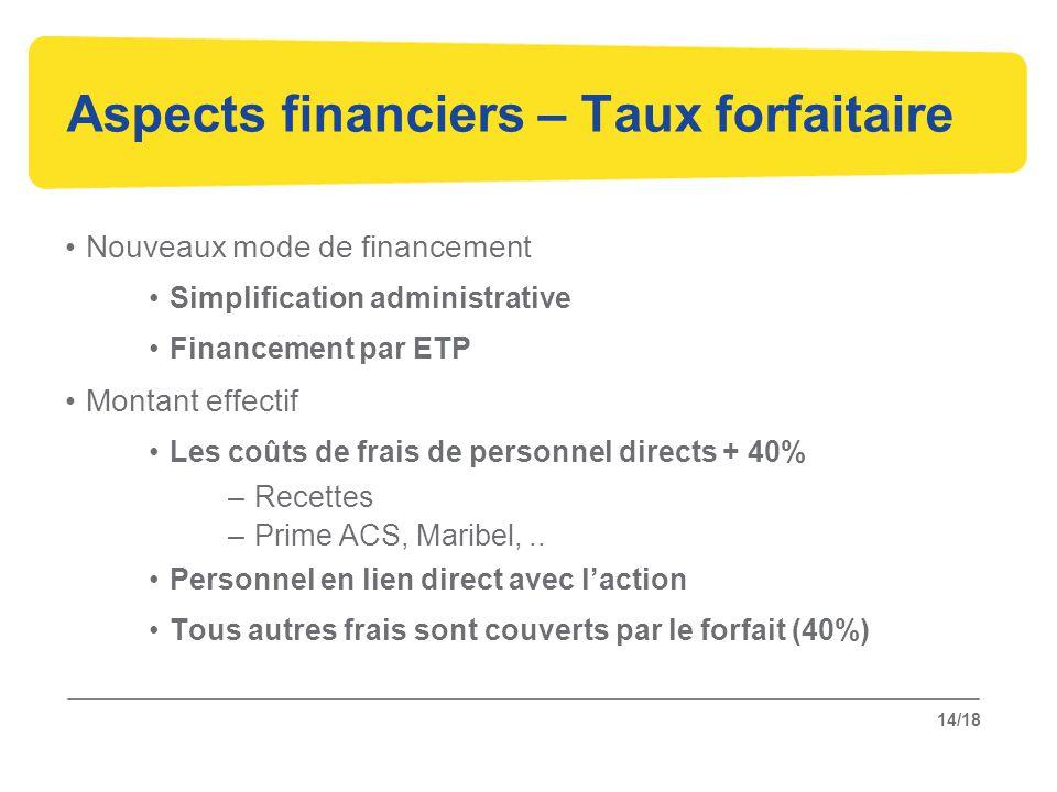 14/18 Aspects financiers – Taux forfaitaire Nouveaux mode de financement Simplification administrative Financement par ETP Montant effectif Les coûts