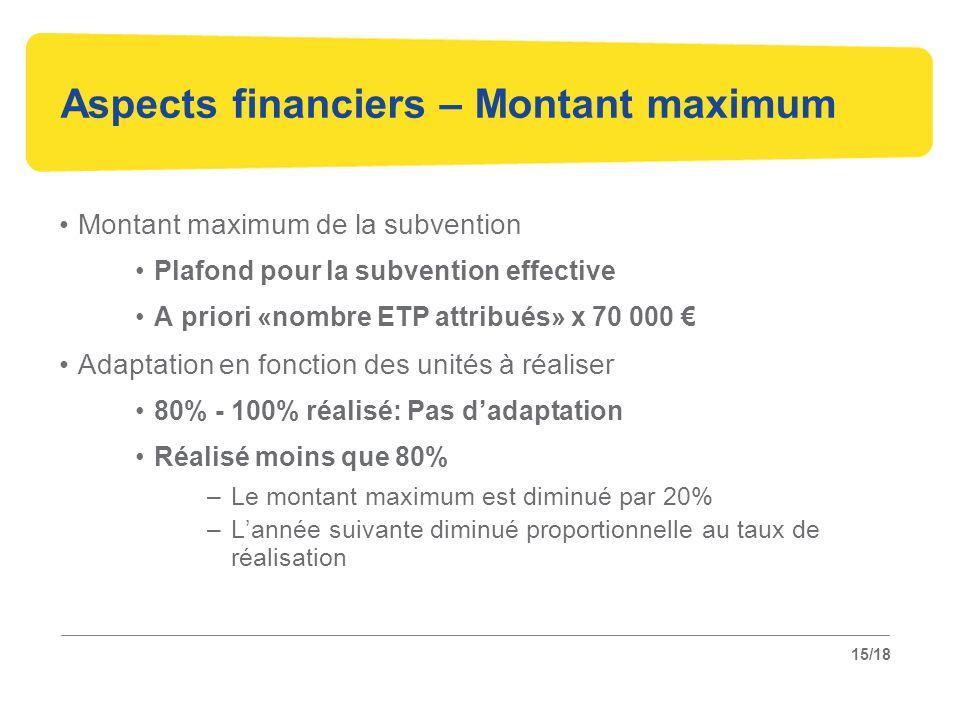 15/18 Aspects financiers – Montant maximum Montant maximum de la subvention Plafond pour la subvention effective A priori «nombre ETP attribués» x 70