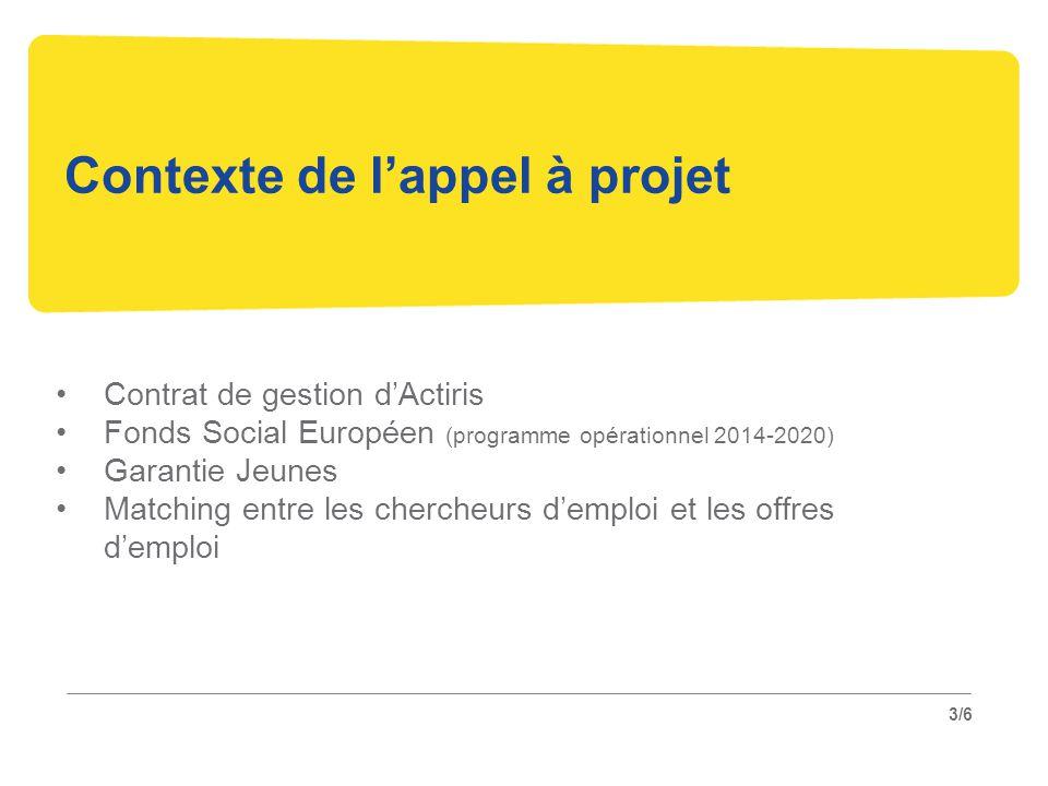 3/6 Contexte de l'appel à projet Contrat de gestion d'Actiris Fonds Social Européen (programme opérationnel 2014-2020) Garantie Jeunes Matching entre les chercheurs d'emploi et les offres d'emploi