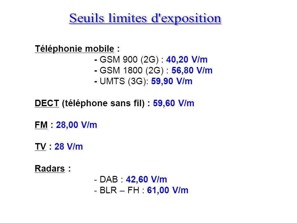 Téléphonie mobile : - GSM 900 (2G) : 40,20 V/m - GSM 1800 (2G) : 56,80 V/m - UMTS (3G): 59,90 V/m DECT (téléphone sans fil) : 59,60 V/m FM : 28,00 V/m