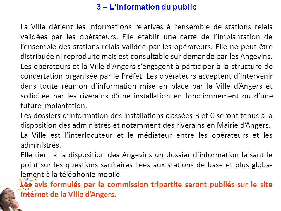 3 – L'information du public La Ville détient les informations relatives à l'ensemble de stations relais validées par les opérateurs. Elle établit une