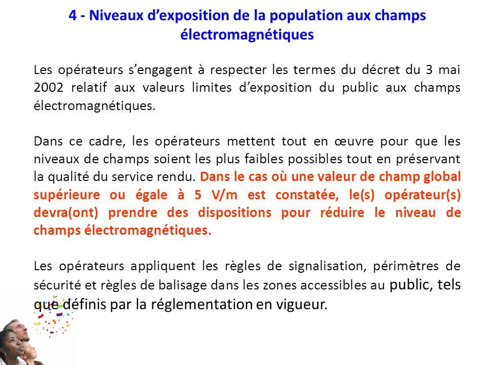4 - Niveaux d'exposition de la population aux champs électromagnétiques Les opérateurs s'engagent à respecter les termes du décret du 3 mai 2002 relat