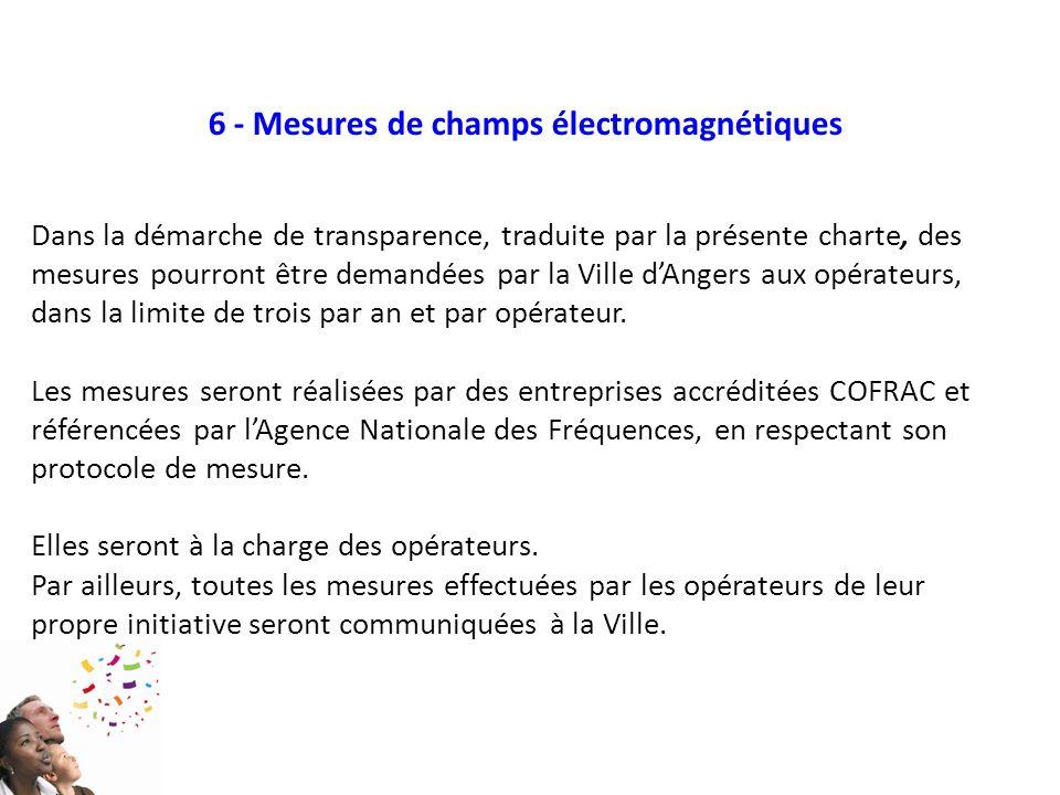 6 - Mesures de champs électromagnétiques Dans la démarche de transparence, traduite par la présente charte, des mesures pourront être demandées par la