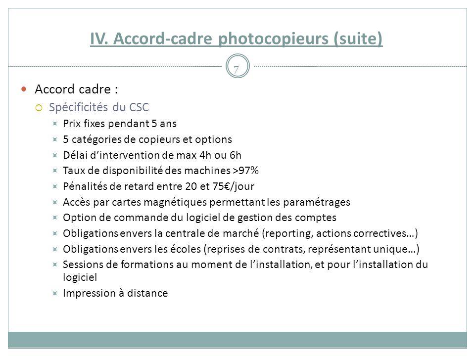 IV. Accord-cadre photocopieurs (suite) Accord cadre :  Spécificités du CSC  Prix fixes pendant 5 ans  5 catégories de copieurs et options  Délai d