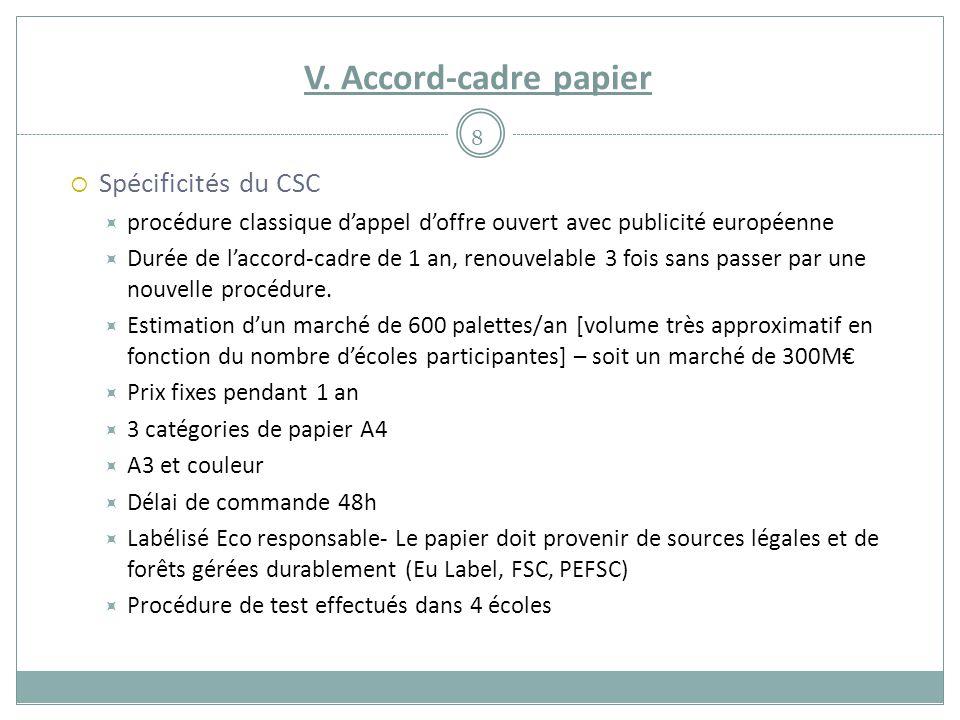 V. Accord-cadre papier  Spécificités du CSC  procédure classique d'appel d'offre ouvert avec publicité européenne  Durée de l'accord-cadre de 1 an,