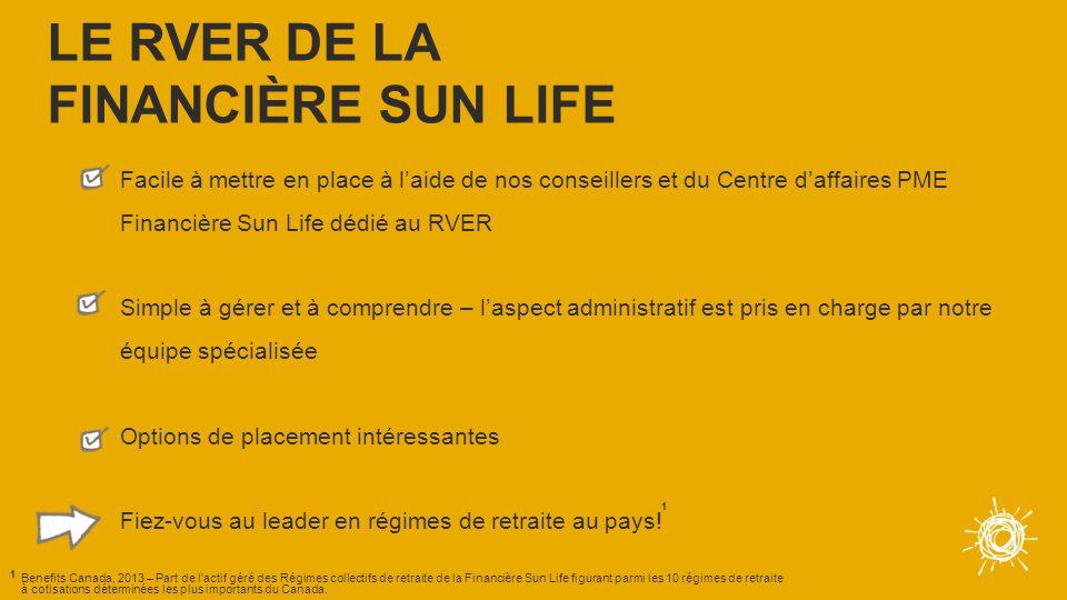 Facile à mettre en place à l'aide de nos conseillers et du Centre d'affaires PME Financière Sun Life dédié au RVER Simple à gérer et à comprendre – l'aspect administratif est pris en charge par notre équipe spécialisée Options de placement intéressantes Fiez-vous au leader en régimes de retraite au pays.