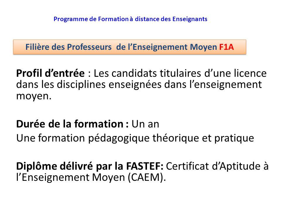 Profil d'entrée : Les candidats titulaires d'une licence dans les disciplines enseignées dans l'enseignement moyen. Durée de la formation : Un an Une