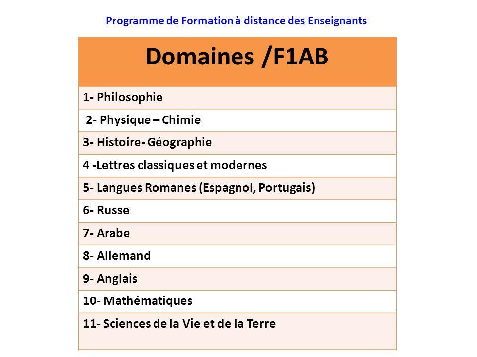 : Programme de Formation à distance des Enseignants Domaines /F1AB 1- Philosophie 2- Physique – Chimie 3- Histoire- Géographie 4 -Lettres classiques e