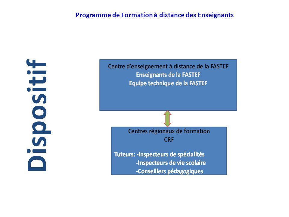Programme de Formation à distance des Enseignants Dispositif