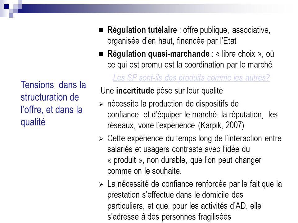 Tensions dans la structuration de l'offre, et dans la qualité 12/02/09 Régulation tutélaire : offre publique, associative, organisée d'en haut, financée par l'Etat Régulation quasi-marchande : « libre choix », où ce qui est promu est la coordination par le marché Les SP sont-ils des produits comme les autres.
