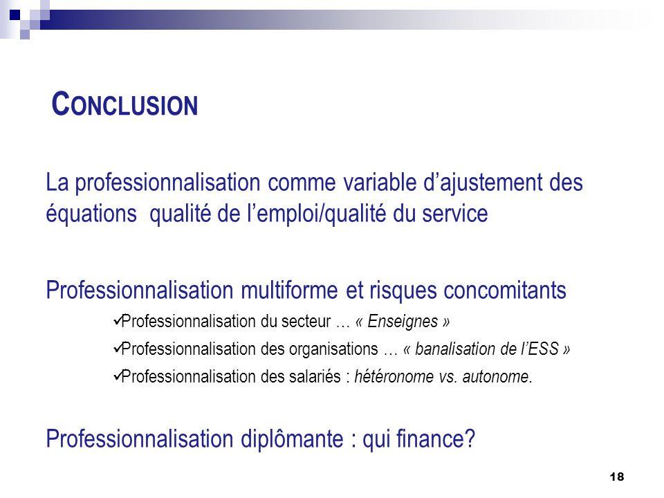 C ONCLUSION La professionnalisation comme variable d'ajustement des équations qualité de l'emploi/qualité du service Professionnalisation multiforme e