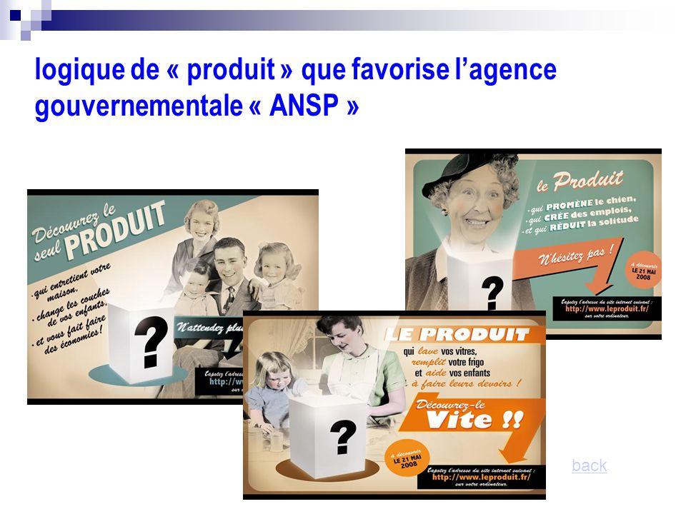 logique de « produit » que favorise l'agence gouvernementale « ANSP » back