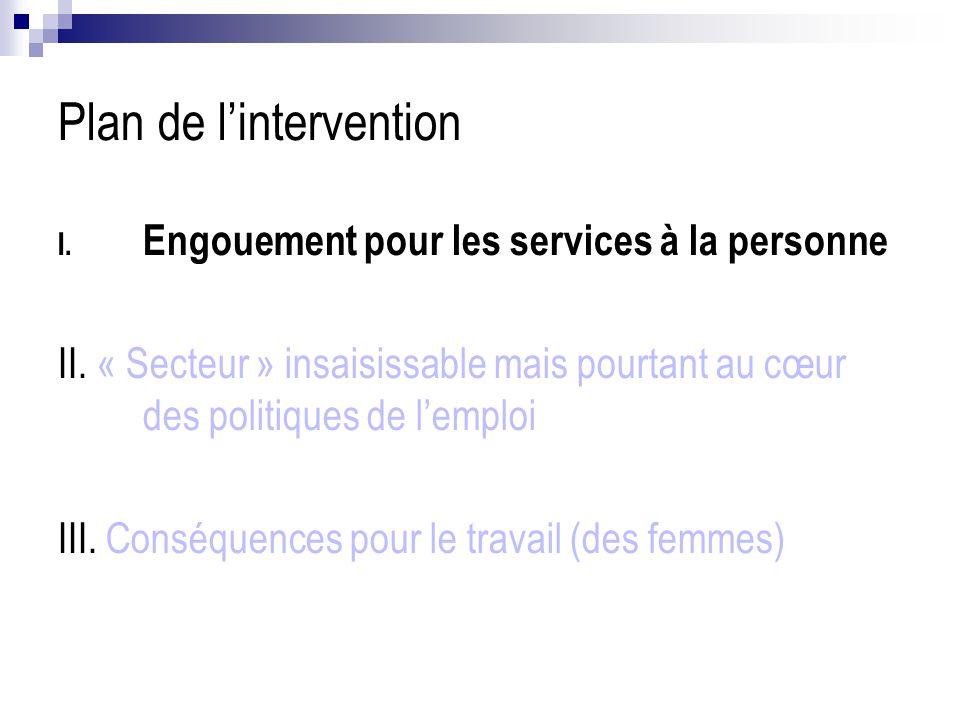 Plan de l'intervention I. Engouement pour les services à la personne II. « Secteur » insaisissable mais pourtant au cœur des politiques de l'emploi II