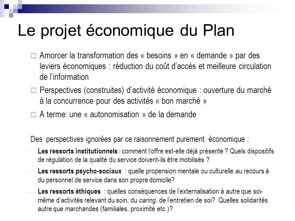 Le projet économique du Plan  Amorcer la transformation des « besoins » en « demande » par des leviers économiques : réduction du coût d'accès et mei