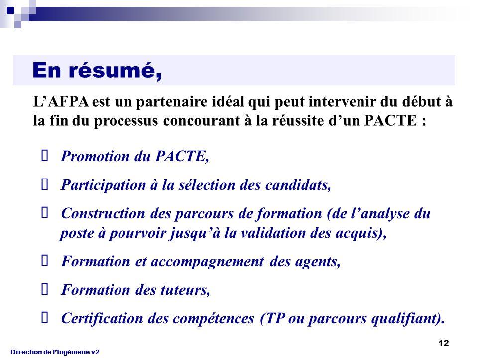 Direction de l'Ingénierie v2 12 En résumé, Promotion du PACTE, Participation à la sélection des candidats, Construction des parcours de formation (de