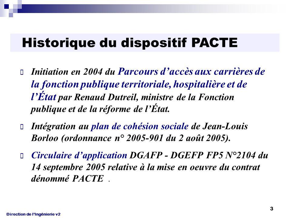 Direction de l'Ingénierie v2 4 Le PACTE en quatre points Ambition : « Rendre la fonction publique plus représentative de la société qu'elle sert » en élargissant son champ de recrutement.
