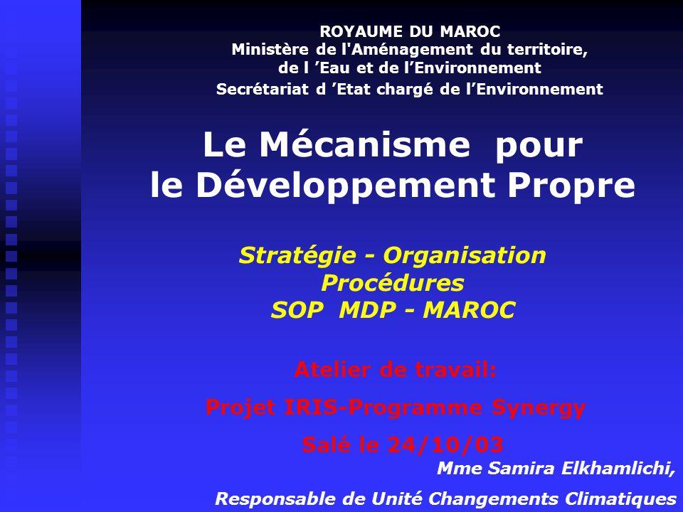 Sommaire I- Stratégie Nationale en matière de MDP II-Autorité Nationale MDP Maroc : missions, attributions et organisation III- Procédures d'évaluation et d'approbation des projets MDP d'approbation des projets MDP par l'AN MDP Maroc par l'AN MDP Maroc