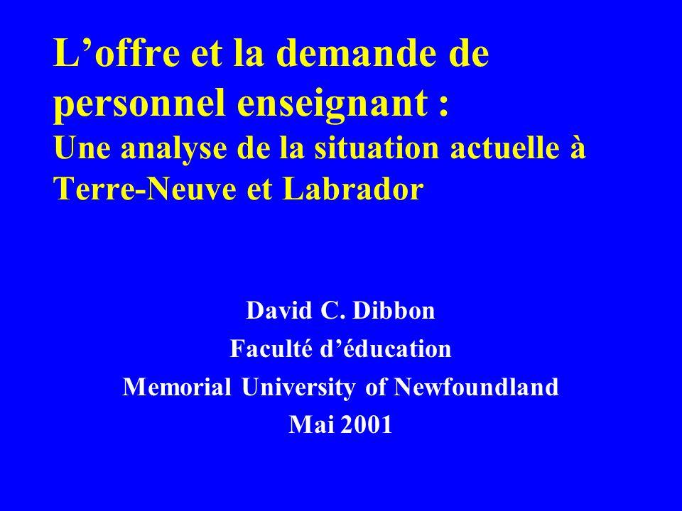 L'offre et la demande de personnel enseignant : Une analyse de la situation actuelle à Terre-Neuve et Labrador David C. Dibbon Faculté d'éducation Mem