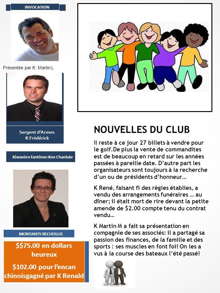 INVOCATION Présentée par K. Martin L Sergent d'Armes K Frédérick Kiwanien fantôme:Kne Chantale MONTANTS RECUEILLIS $$75.00 en dollars heureux $102.00