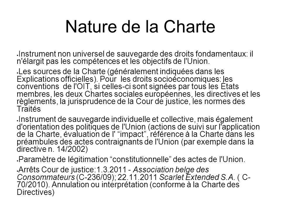 Nature de la Charte  Instrument non universel de sauvegarde des droits fondamentaux: il n'élargit pas les compétences et les objectifs de l'Union. 