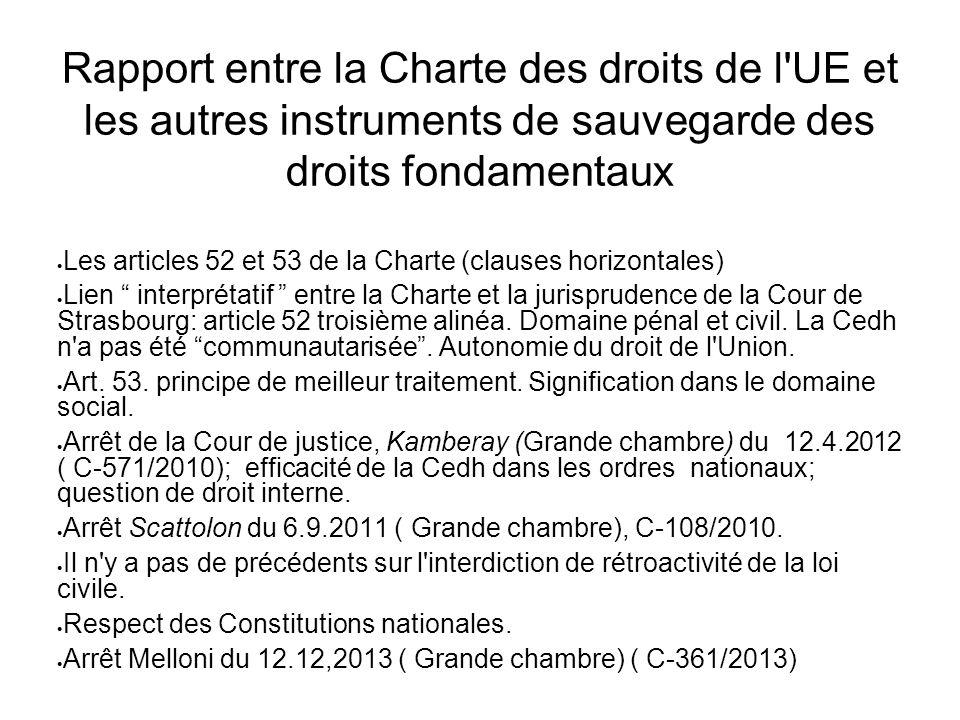 Rapport entre la Charte des droits de l UE et les autres instruments de sauvegarde des droits fondamentaux  Les articles 52 et 53 de la Charte (clauses horizontales)  Lien interprétatif entre la Charte et la jurisprudence de la Cour de Strasbourg: article 52 troisième alinéa.