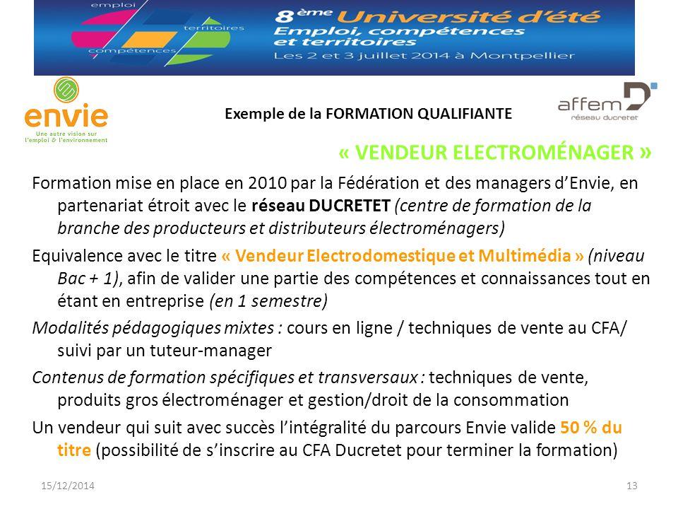 Exemple de la FORMATION QUALIFIANTE « VENDEUR ELECTROMÉNAGER » Formation mise en place en 2010 par la Fédération et des managers d'Envie, en partenari