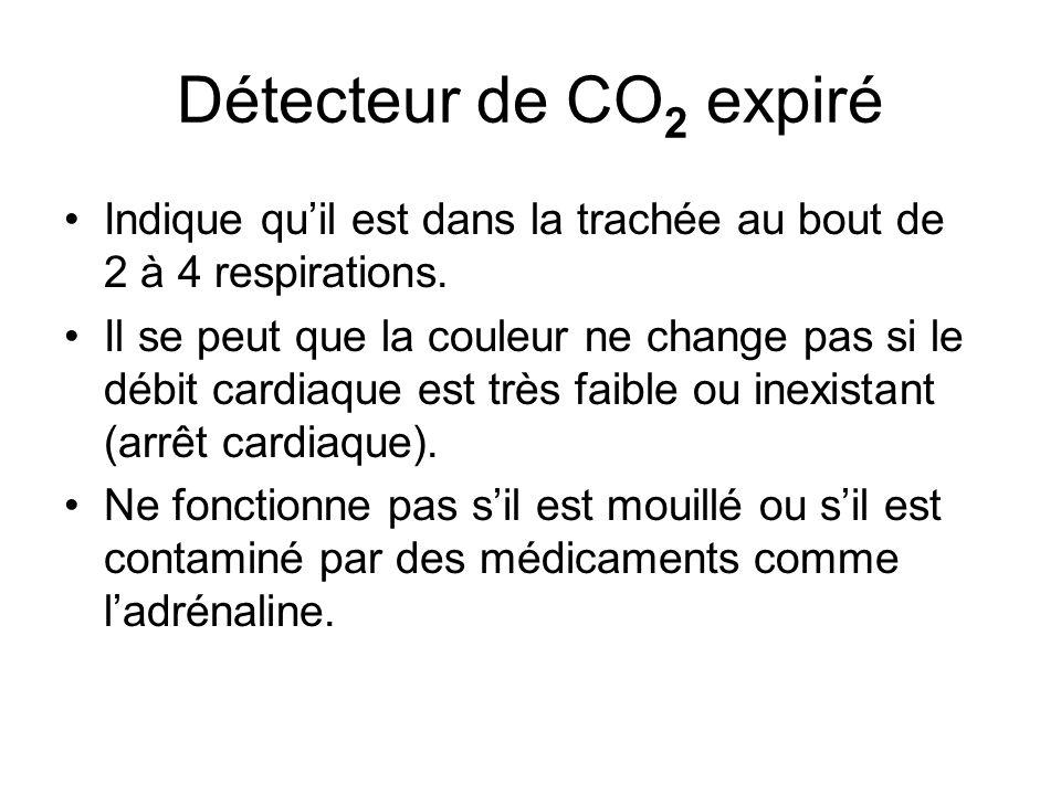 Détecteur de CO 2 expiré Indique qu'il est dans la trachée au bout de 2 à 4 respirations. Il se peut que la couleur ne change pas si le débit cardiaqu