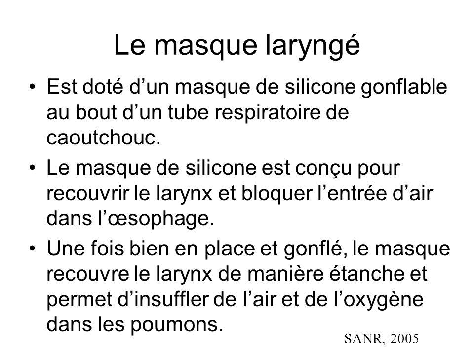 Le masque laryngé Est doté d'un masque de silicone gonflable au bout d'un tube respiratoire de caoutchouc. Le masque de silicone est conçu pour recouv