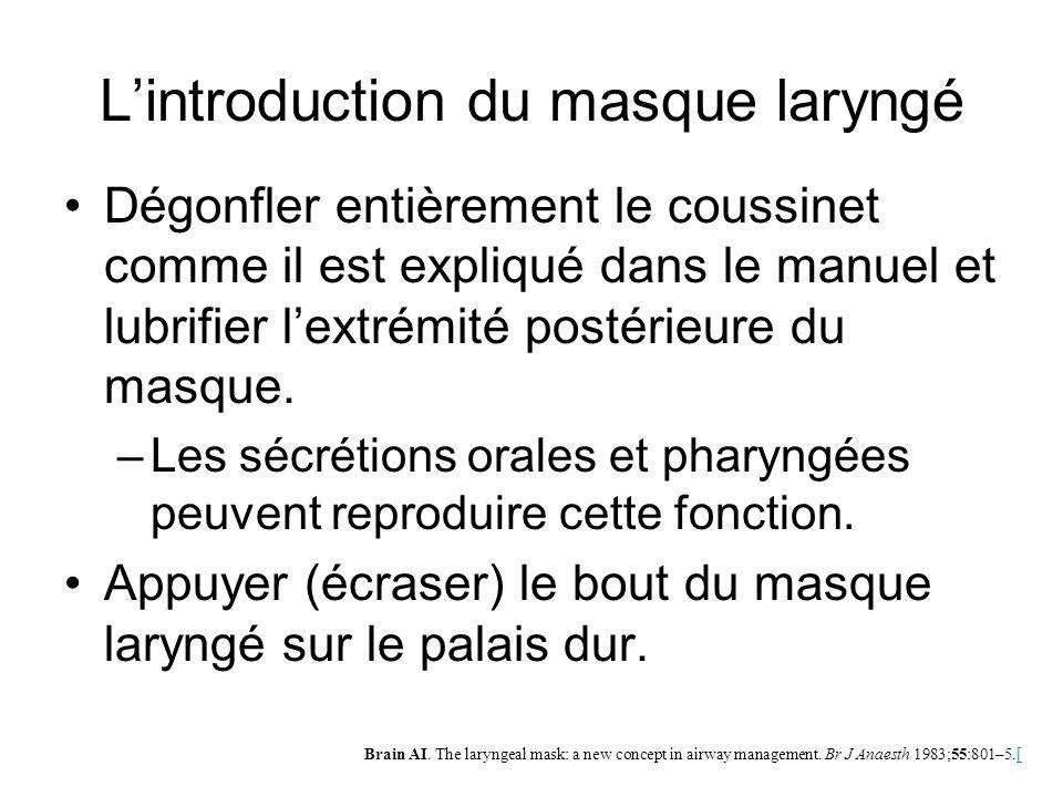 L'introduction du masque laryngé Dégonfler entièrement le coussinet comme il est expliqué dans le manuel et lubrifier l'extrémité postérieure du masqu