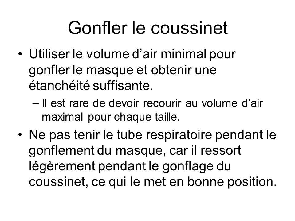 Gonfler le coussinet Utiliser le volume d'air minimal pour gonfler le masque et obtenir une étanchéité suffisante. –Il est rare de devoir recourir au